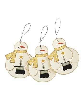 Top Hat Snowman Ornament - Set of Three