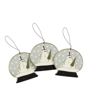 Snowman Snow Globe Ornament - Set of Three