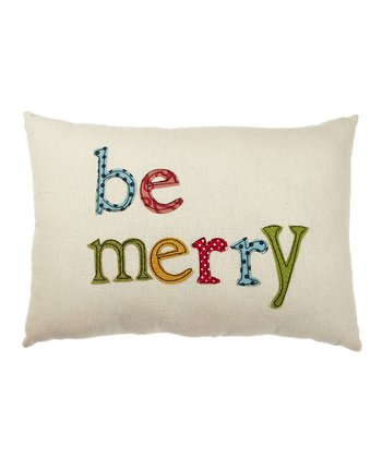 Cream 'Be Merry' Pillow