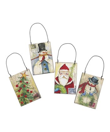 Jolly Holiday Postcard Ornament Set