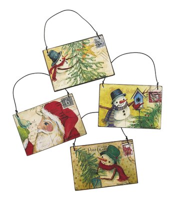 Nature's Christmas Postcard Ornament Set