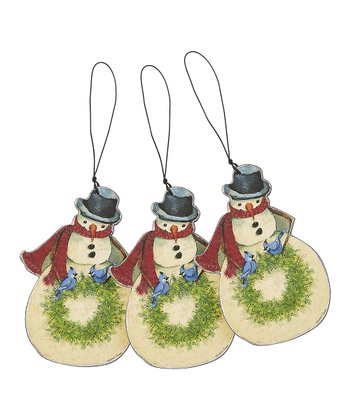 Snowman & Bluejays Wood Cutout Ornament - Set of Three