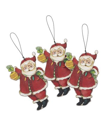 Deck the Halls Santa Wood Cutout Ornament - Set of Three