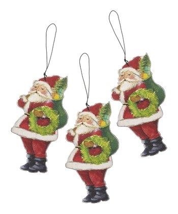 Traditional Santa Wood Cutout Ornament - Set of Three