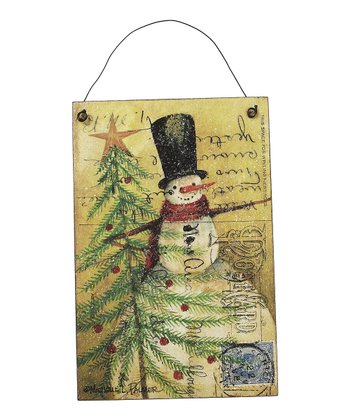 Top Hat Snowman & Prim Tree Postcard Wood Sign