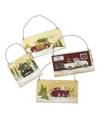 Snow Truck Ornament Set
