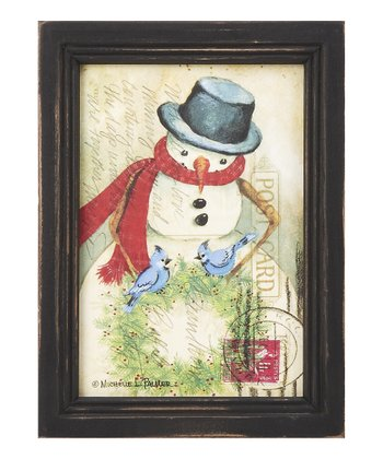 Snowman & Bluejays Postcard Framed Wall Art