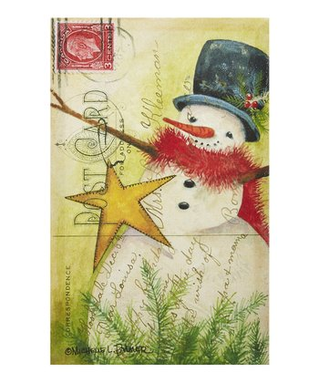 Snowman & Bright Stars Postcard Canvas Wall Art