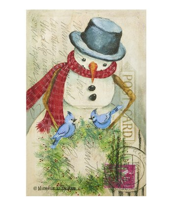 Snowman & Bluejays Postcard Canvas Wall Art