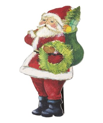 Traditional Santa Standing Wood Cutout Décor