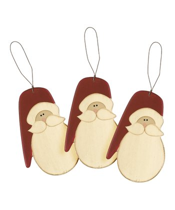 Santa Face Ornament - Set of Three