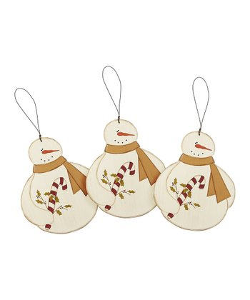 Snowman & Candy Cane Ornament - Set of Three