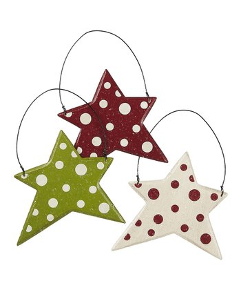 Red & Green Polka Dot Star Ornament Set