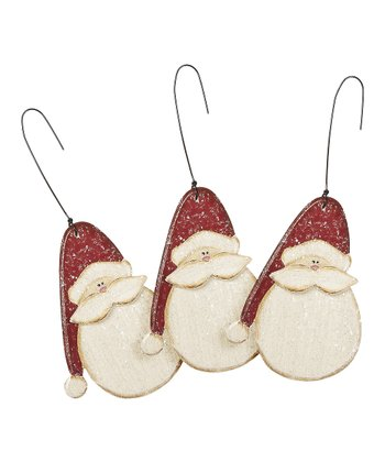 Snowy Santa Ornament - Set of Three