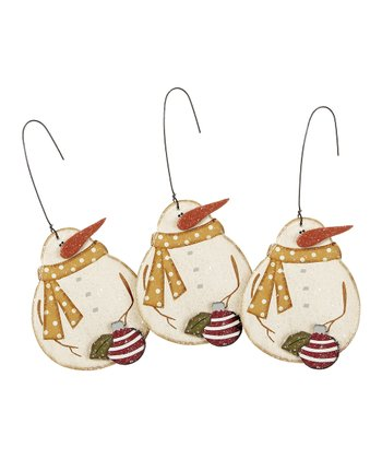 Snowman with Bulb Ornament - Set of Three