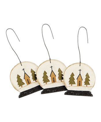 Church Snow Globe Ornament - Set of Three