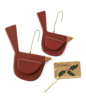 Cardinal Bird Ornament - Set of Two