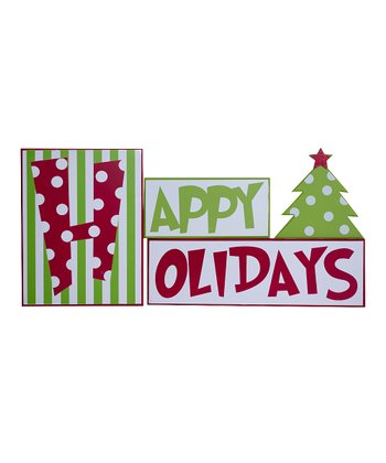 'Happy Holidays' Brick Sign Set