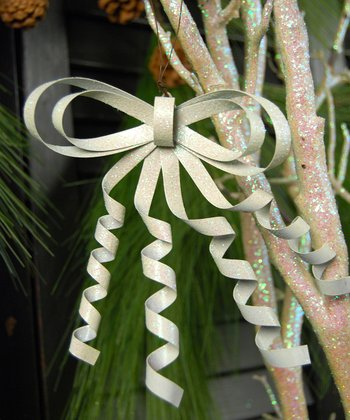 White Curly Metal Bow Ornament - Set of Six