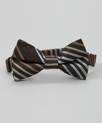 Black & Brown Stripe Bow Tie