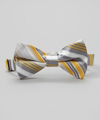 Gray & Mustard Stripe Bow Tie