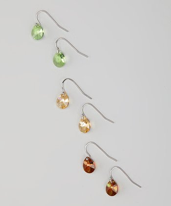 Silver Trio Teardrop Earrings Made With SWAROVSKI ELEMENTS