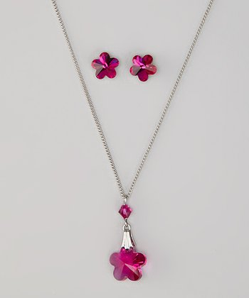 Fuchsia Necklace & Earrings Made With SWAROVSKI ELEMENTS