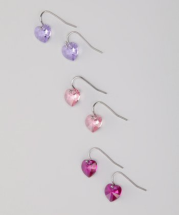 Pink Heart Earrings Set Made With SWAROVSKI ELEMENTS