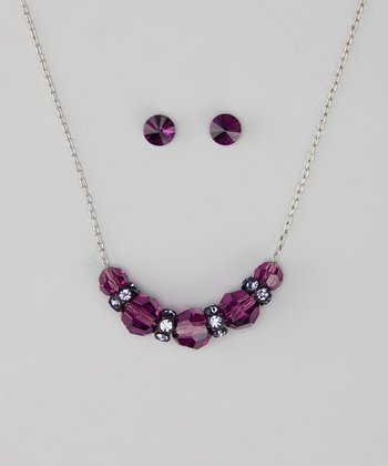 Amethyst Necklace & Earrings Made With SWAROVSKI ELEMENTS