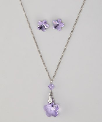 Violet Necklace & Earrings Made With SWAROVSKI ELEMENTS