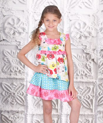 Pink & Aqua Tiered Floral Dress - Toddler & Girls