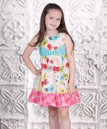 Pink & Aqua Floral Bow Dress - Toddler & Girls