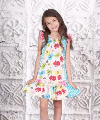 Pink & Aqua Floral Adeline Dress - Toddler & Girls
