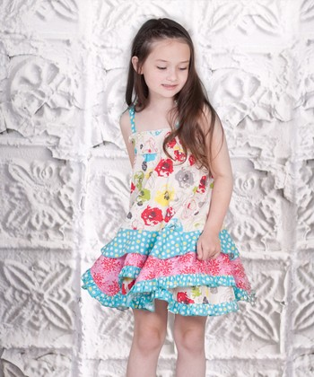 Pink & Aqua Floral Smocked Ruffle Dress - Toddler & Girls