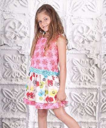 Pink Floral Mixed Bouquet Dress - Toddler & Girls
