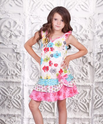 White & Pink Floral Twirly Girl Dress - Toddler & Girls