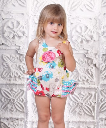 White Floral Baby Bubble Ruffle Romper - Infant