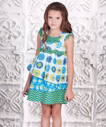 Blue & Green Floral Tiered Dress - Toddler & Girls