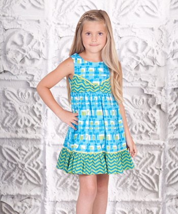 Blue & Green Floral Bow Dress - Toddler & Girls