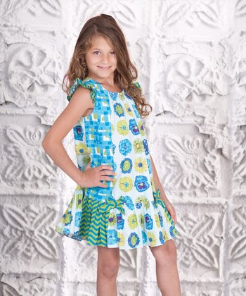 Blue & Green Floral Adeline Dress - Toddler & Girls