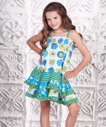 Blue & Green Floral Smocked Ruffle Dress - Toddler & Girls