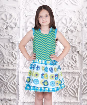 Blue & Green Floral Zigzag Dress - Toddler & Girls