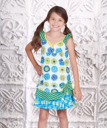 Blue & Green Floral Twirly Girl Dress - Toddler & Girls