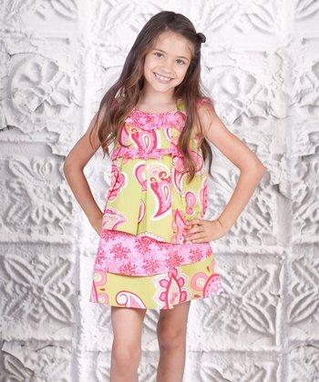 Pink & Yellow Paisley Tiered Dress - Toddler & Girls