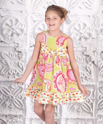 Yellow Paisley Ruffle Bow Dress - Toddler & Girls