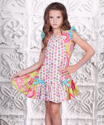 Pink & Yellow Paisley Adeline Dress - Toddler & Girls