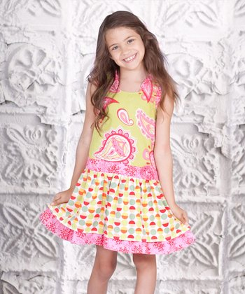 Yellow & Pink Paisley Heart Dress - Toddler & Girls