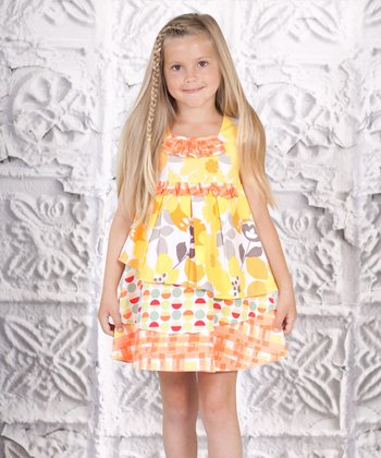 Yellow Floral Tiered Dress - Toddler & Girls