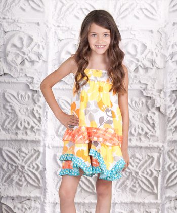 Yellow Floral Ruffle Dress - Toddler & Girls
