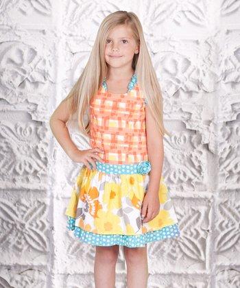 Yellow Floral Plaid Dress - Toddler & Girls